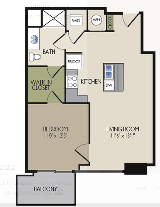 729 sq. ft. B1 floor plan