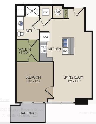 729 sq. ft. B1 floor plan