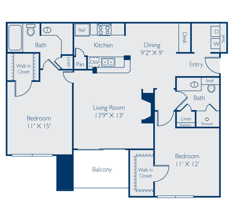 1,057 sq. ft. Buchanan floor plan