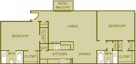 1,050 sq. ft. floor plan