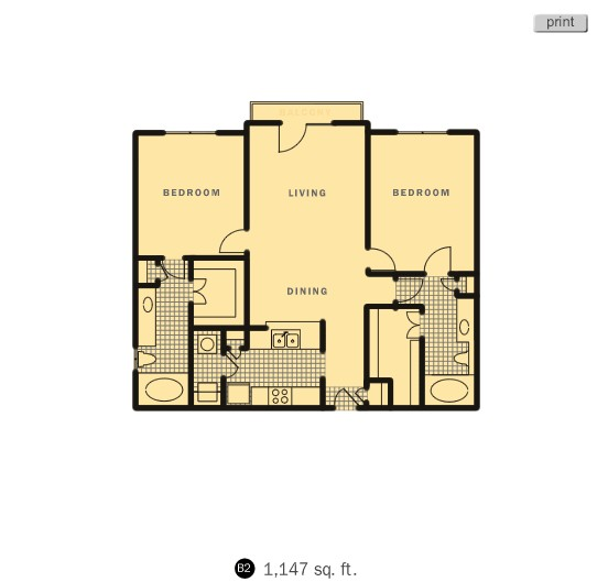 1,147 sq. ft. Lookout floor plan