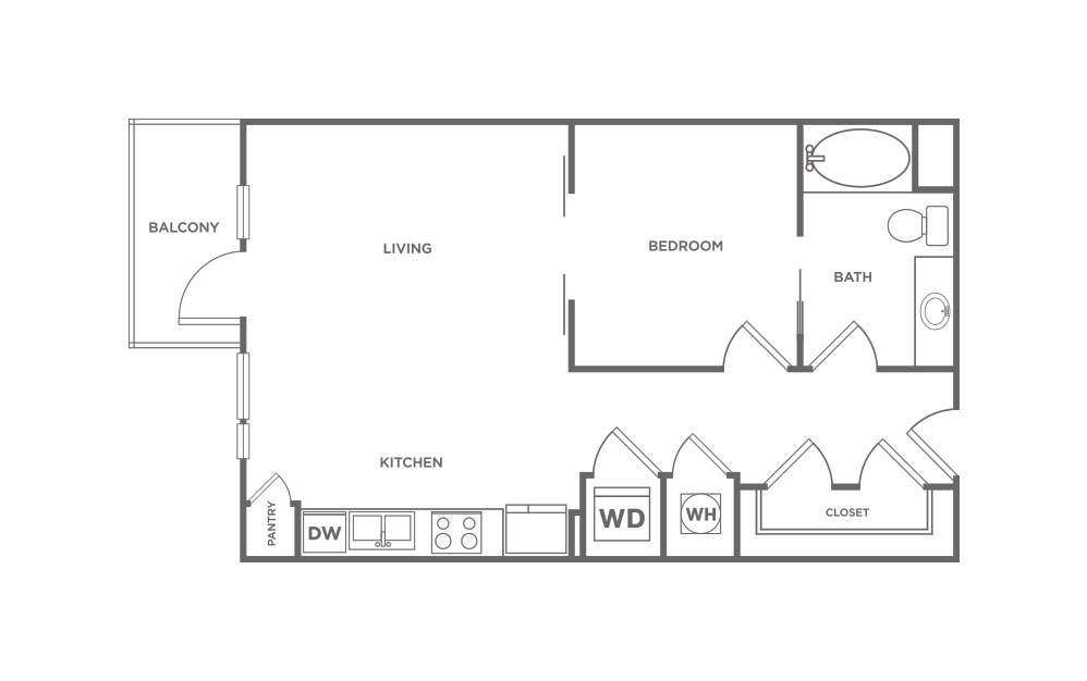 692 sq. ft. S1.1 floor plan