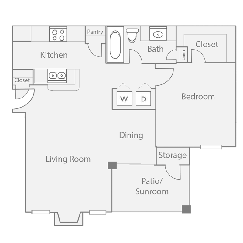 752 sq. ft. A4 floor plan