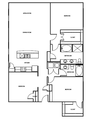 1,053 sq. ft. 2B1 floor plan