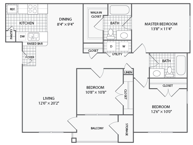 1,202 sq. ft. C3 floor plan