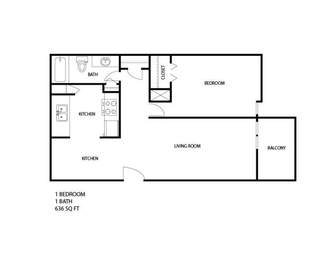 636 sq. ft. floor plan