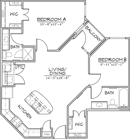 926 sq. ft. B1-6 floor plan