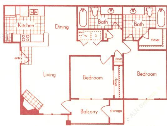 951 sq. ft. B1 floor plan