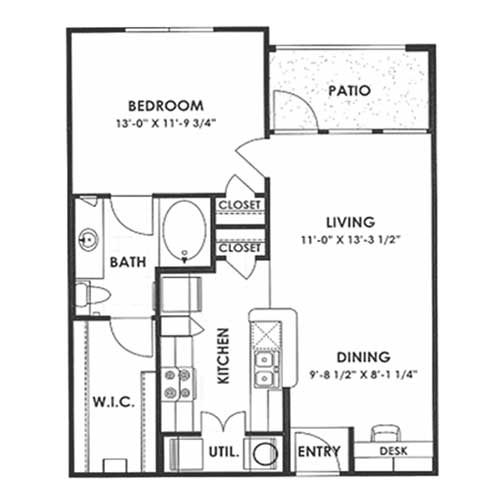 729 sq. ft. 60% floor plan