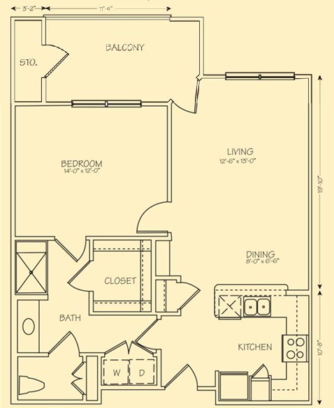 785 sq. ft. Napoli floor plan
