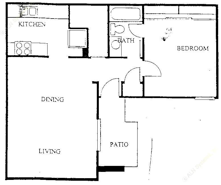 669 sq. ft. A1 floor plan