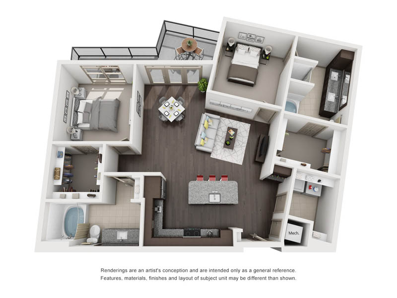 1,230 sq. ft. B13 floor plan