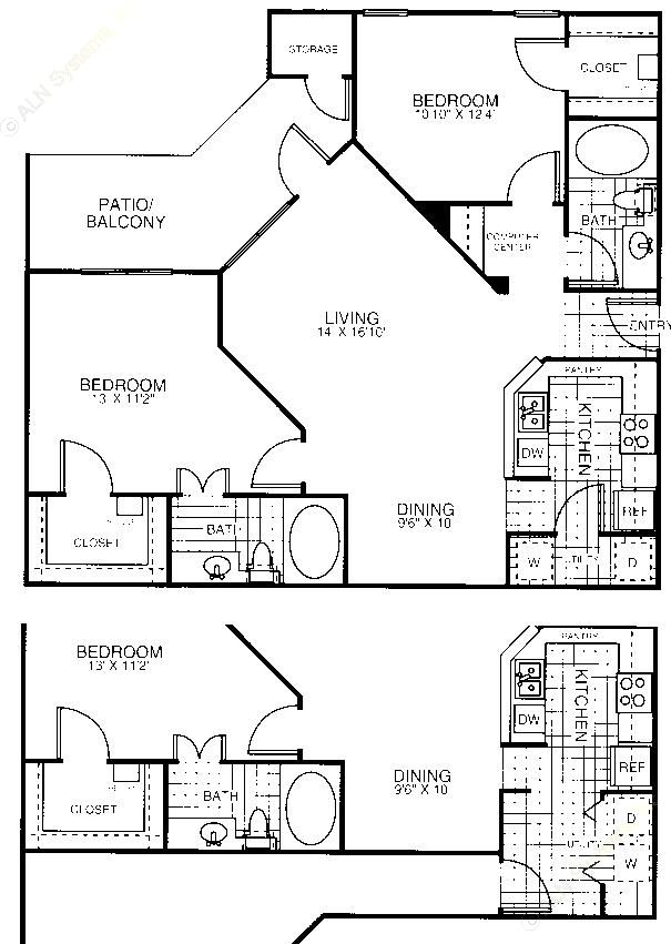 1,135 sq. ft. B3 floor plan