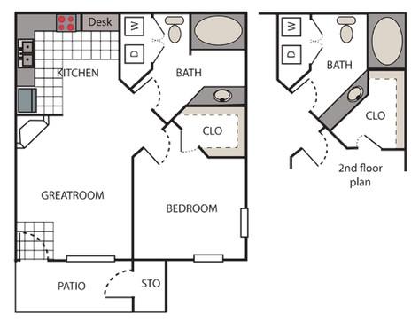 650 sq. ft. Mandarin floor plan