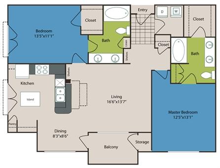 1,135 sq. ft. to 1,263 sq. ft. B3/B3ALTS floor plan