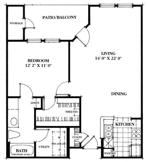725 sq. ft. Laurel floor plan