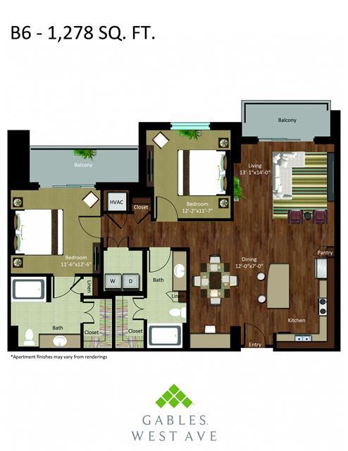 1,278 sq. ft. DB6 floor plan