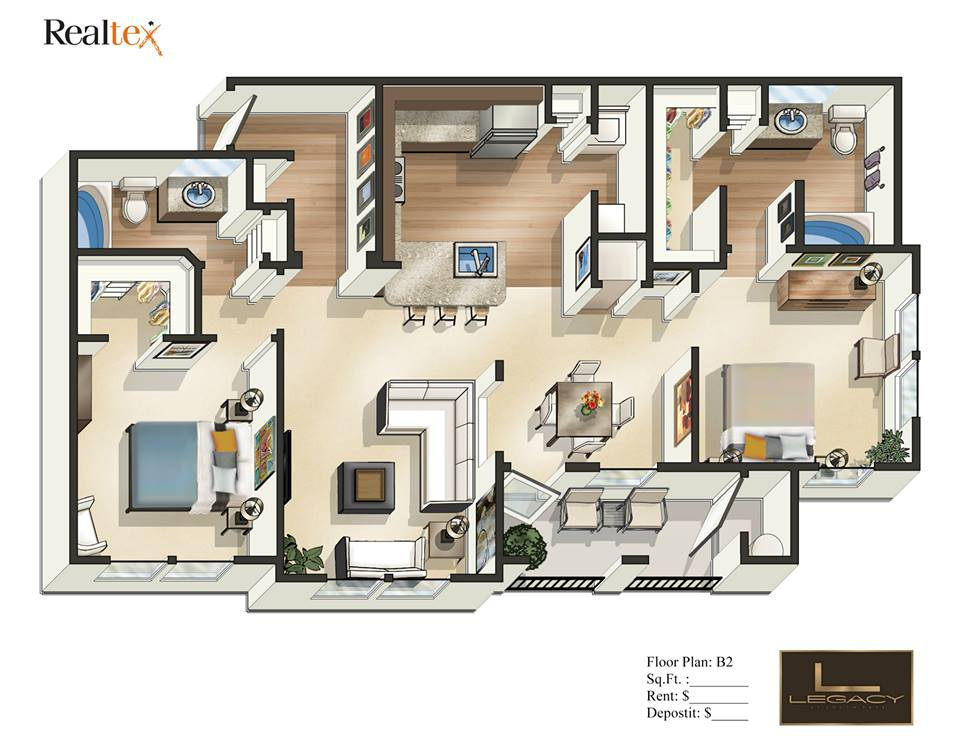 1,081 sq. ft. B2 floor plan
