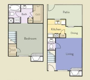 868 sq. ft. Hawthorne floor plan