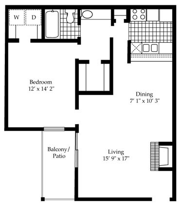764 sq. ft. A7 floor plan