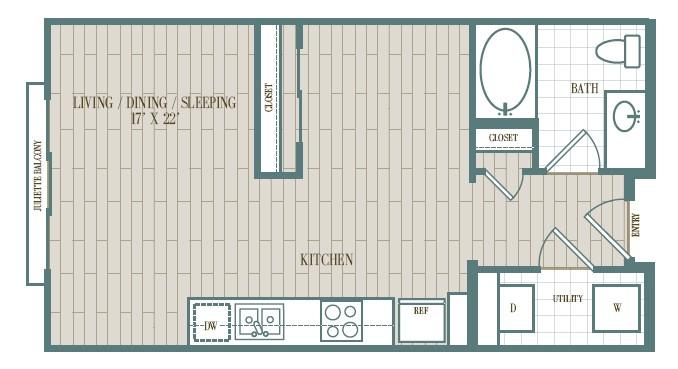 555 sq. ft. Carmel floor plan