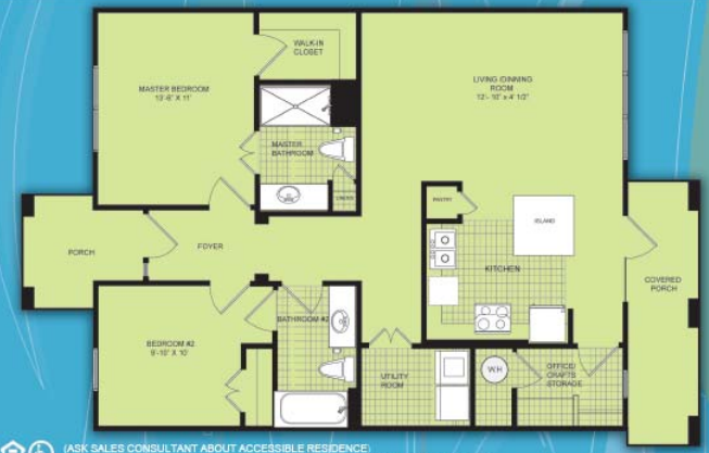 1,088 sq. ft. B2 MKT floor plan