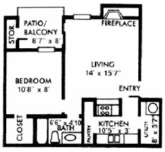 593 sq. ft. A floor plan