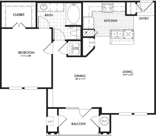836 sq. ft. WINSTED floor plan