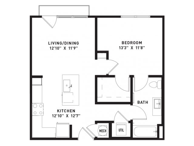 678 sq. ft. A4 floor plan