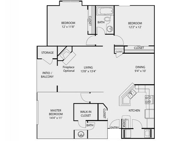 1,300 sq. ft. C1 floor plan