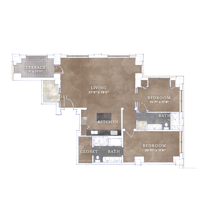 1,605 sq. ft. B1.2 floor plan
