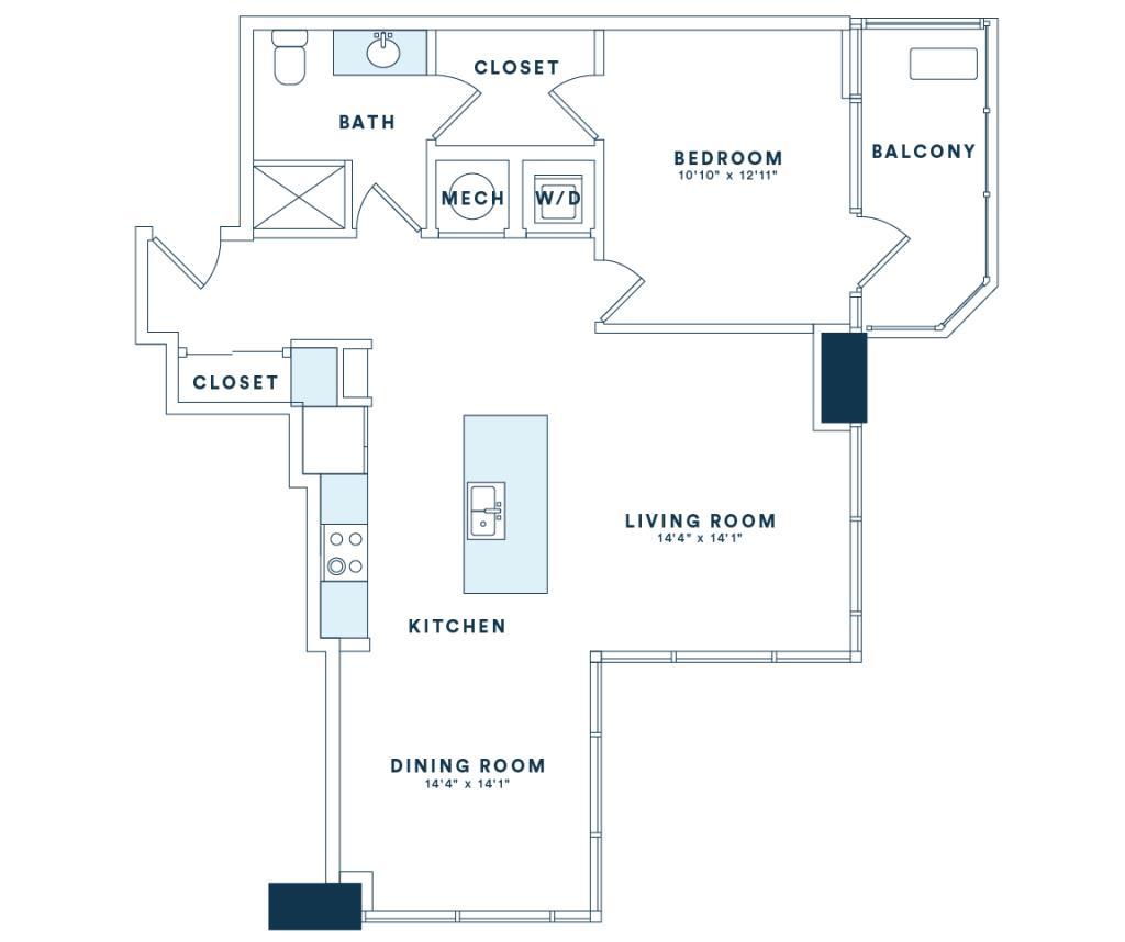898 sq. ft. A8 floor plan