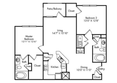1,177 sq. ft. B1 floor plan
