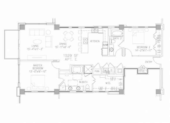 1,529 sq. ft. B4 floor plan