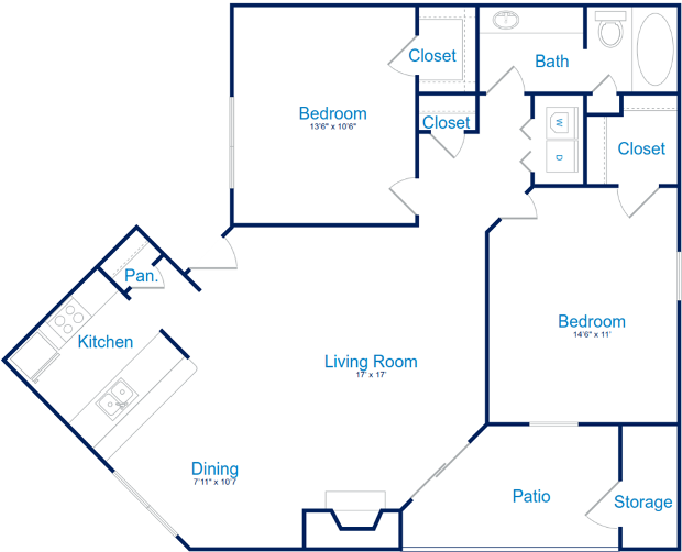 957 sq. ft. B-1 floor plan