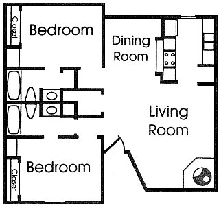 985 sq. ft. G2 floor plan