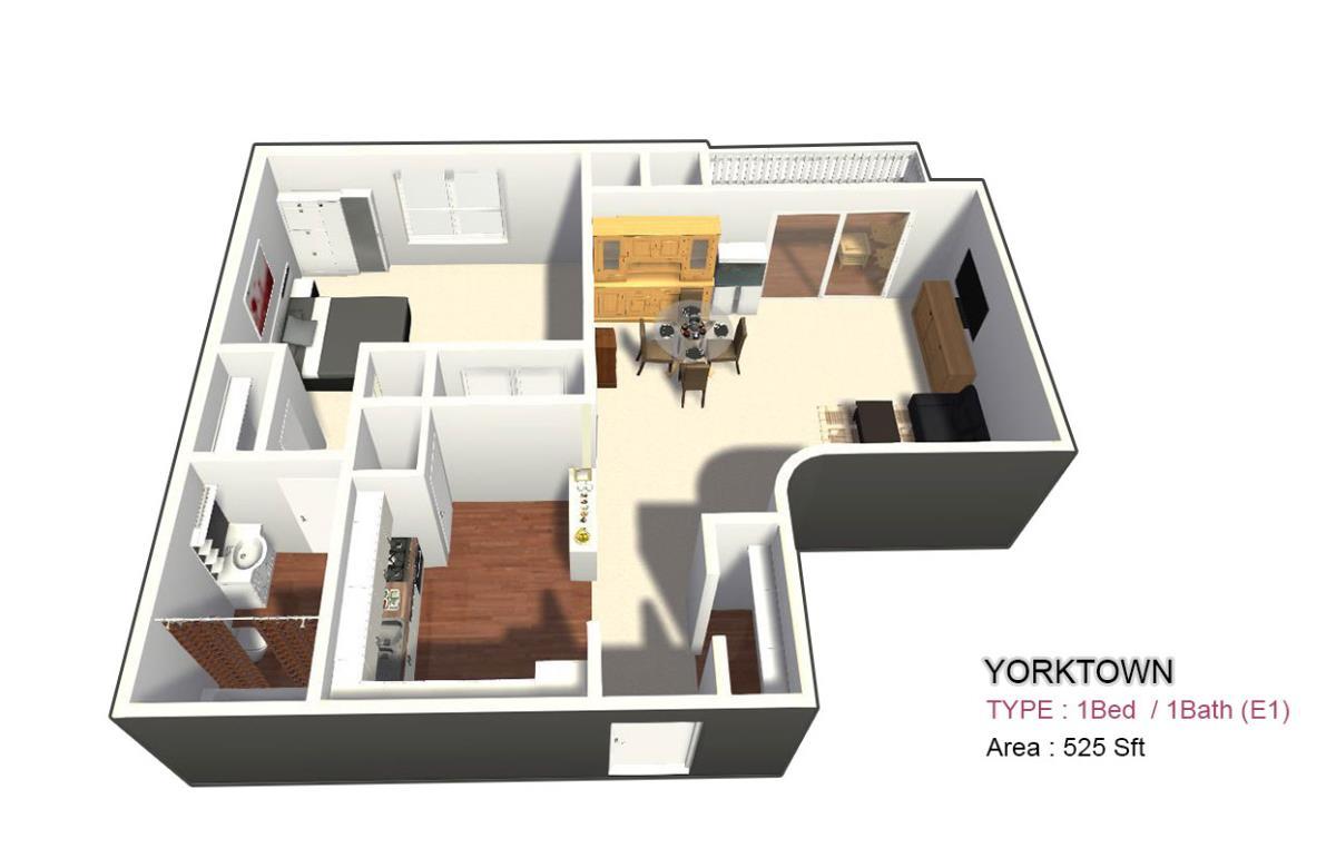575 sq. ft. 1X1 floor plan