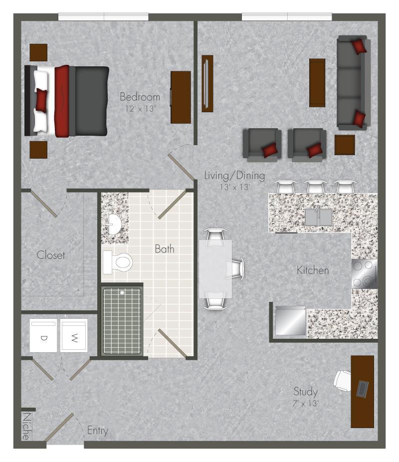 868 sq. ft. 1S-X4 floor plan