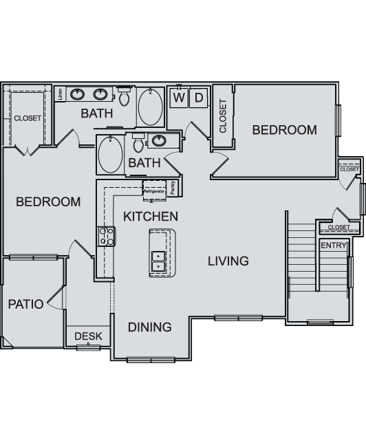 1,304 sq. ft. B3A floor plan