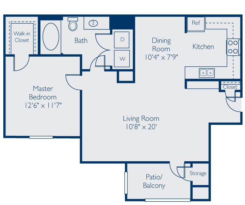 899 sq. ft. A floor plan