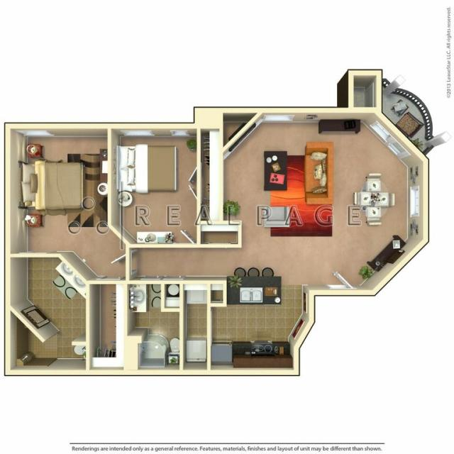 1,102 sq. ft. Hacienda floor plan