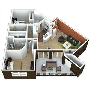 1,068 sq. ft. 2B floor plan