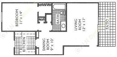 730 sq. ft. D floor plan
