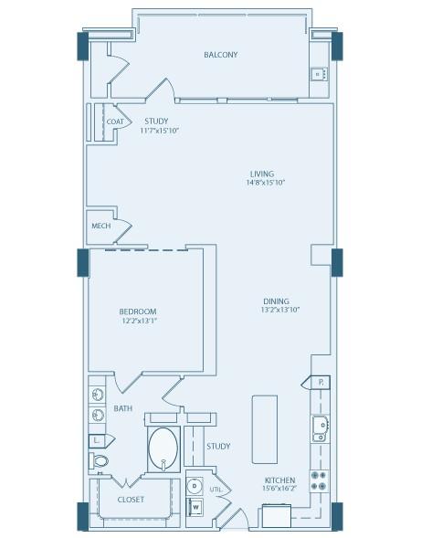 1,238 sq. ft. A6 floor plan