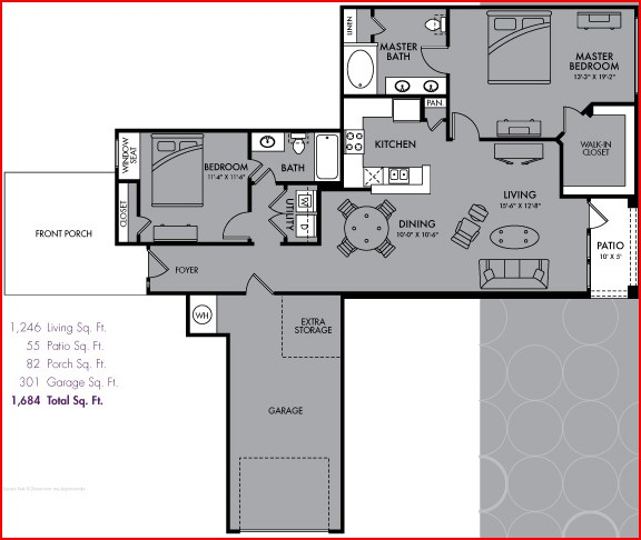 1,246 sq. ft. B5 floor plan
