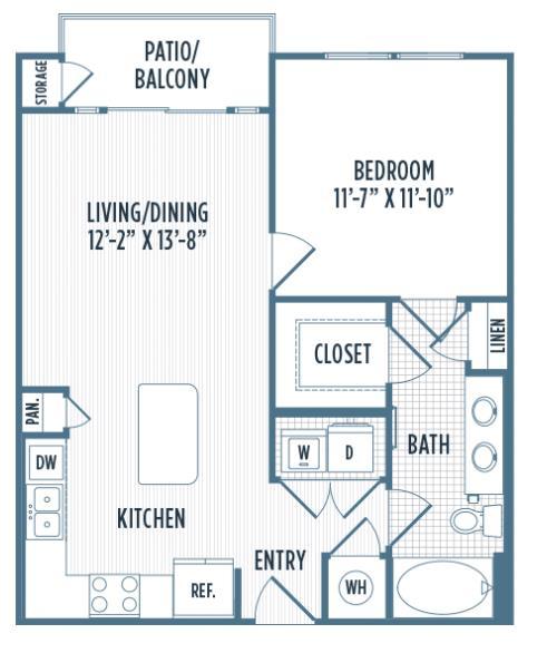 678 sq. ft. A8 floor plan