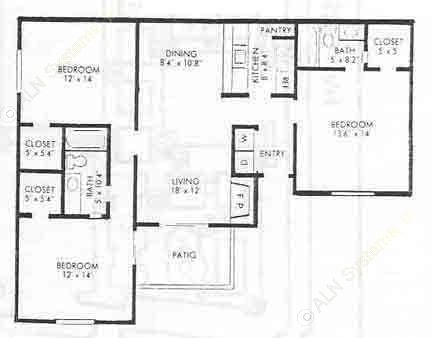 1,300 sq. ft. C-1 floor plan