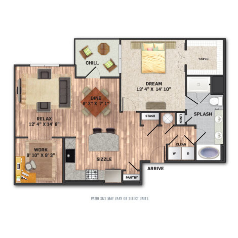 1,117 sq. ft. A4 floor plan
