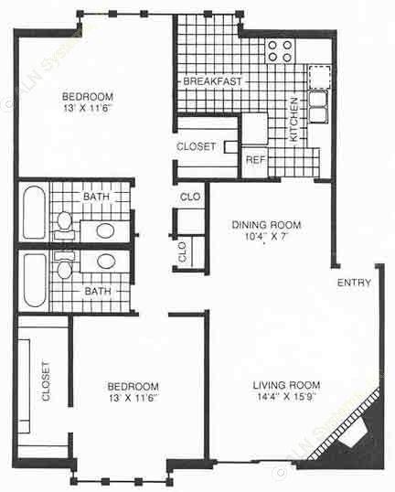 1,047 sq. ft. C2 floor plan