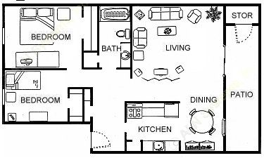 1,250 sq. ft. B1 floor plan